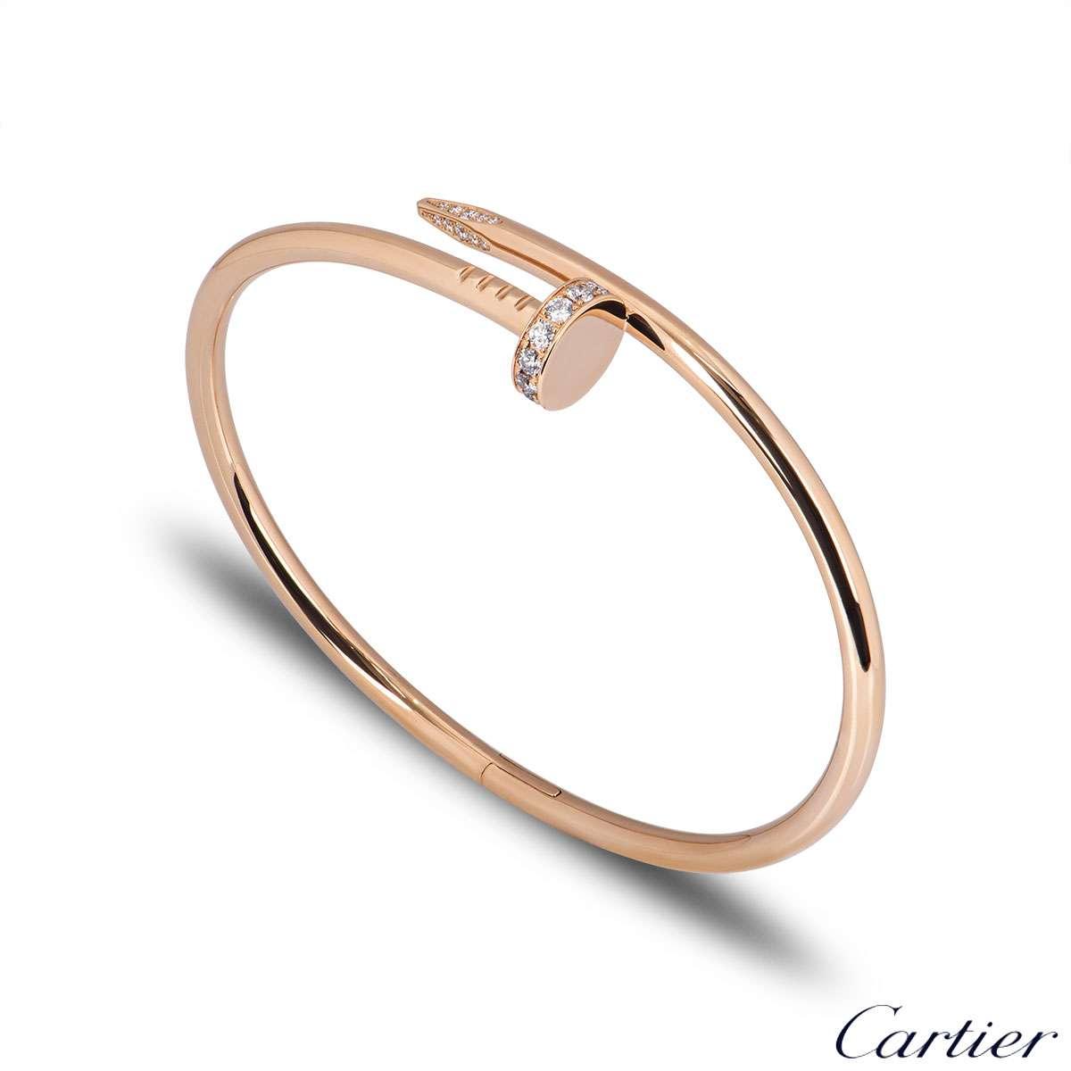 Cartier Rose Gold Diamond Juste Un Clou Bracelet Size 15 B6048515